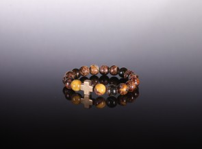 Natural amber dark bracelet with a charm