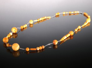 Yellow amber necklace with sterling silver details