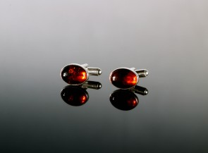 Sterling silver cufflinks with natural amber