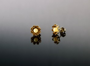 Sterling silver gold colour earrings with natural amber