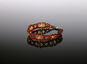 Natural faceted cognac amber bracelet with sterling silver clasp