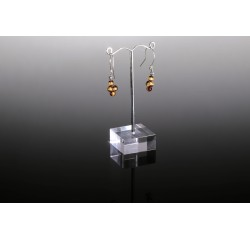 Minimalist natural amber dangle earrings with silver