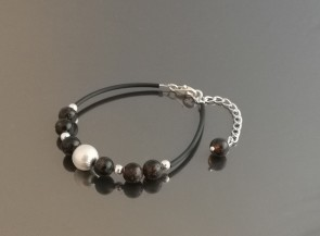 Bracelet with natural amber and 925 Sterling silver