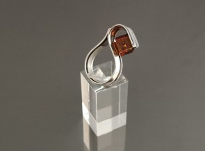 Sterling silver ring with natural amber