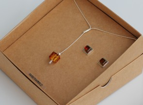 925 Sterling Silver set with natural amber