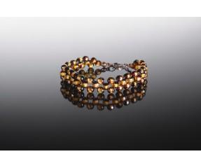 Natural amber greenish faceted bracelet