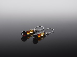 Natural amber faceted earrings