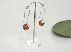 Silver hook earrings with amber