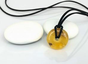 Natural amber donut pendant