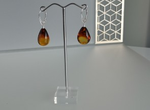 Natural amber drop earrings