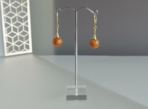 Round yellow matte amber earrings