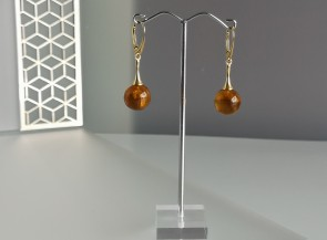 Round yellow matte amber earrings