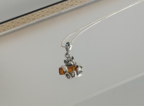 """Natural amber pendant with sterling silver """"Sheep"""""""