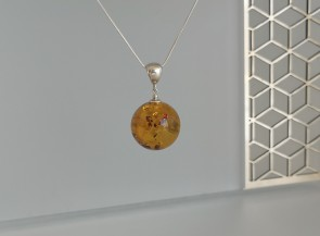 Natural amber pendant with silver