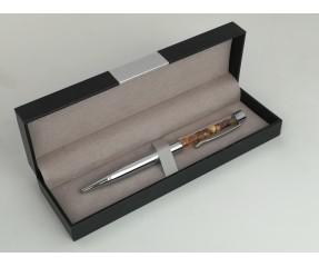 Rašiklis su užpildytas gintaro gabaliukais - sidabrinis