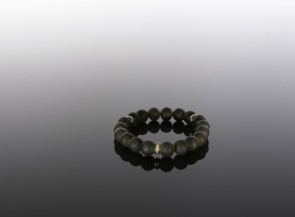 Juodo gintaro apyrankė su sidabrine detale