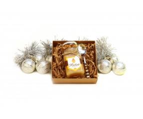 Kalėdinis lietuviškas medus ir šaukštelis su gintaro mozaika