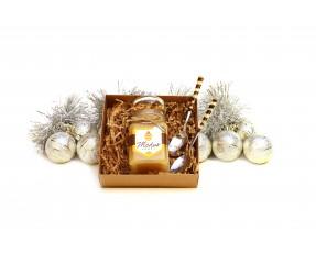 Kalėdinis rinkinys dviems - lietuviškas medus ir šaukšteliai su gintaro mozaika