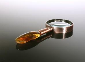 Rankinis padidinimo stiklas su gintaru