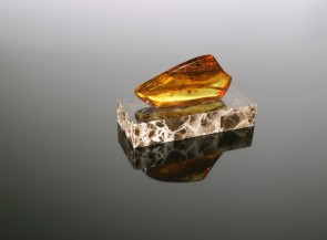Amber piece on a granite stand