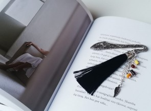 Bookmark decorated with amber beads