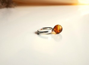Sterling silver ring with amber