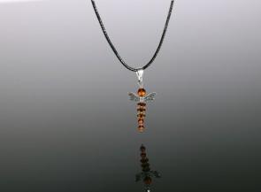 Amber pendant dragonfly for girls