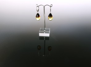 Facetted amber earrings with silver