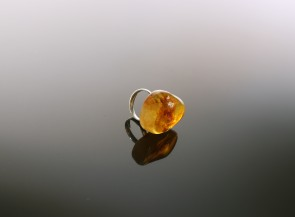 Silver ring with amber piece