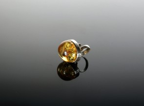 Silver ring with natural amber