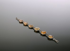 Silver bracelet with natural amber