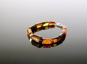Natural amber men's bracelet with silver