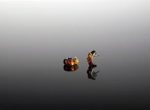 Sidabriniai aukso spalvos auskarai su natūraliu gintaru