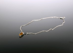 Sterling silver necklace with natural amber beads