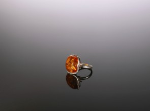 925 Sterling Silver ring with natural amber