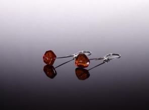 Natural amber cognac earrings