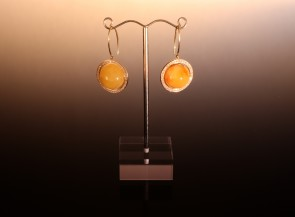 "Earrings ""Saturn"" with gold, amber and diamonds"