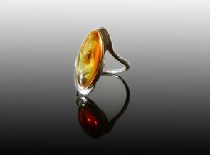 Sterling silver pendant with amber inclusions