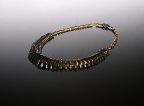 Natural amber faceted multicolor necklace