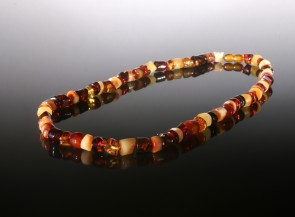 Natural amber men's necklace